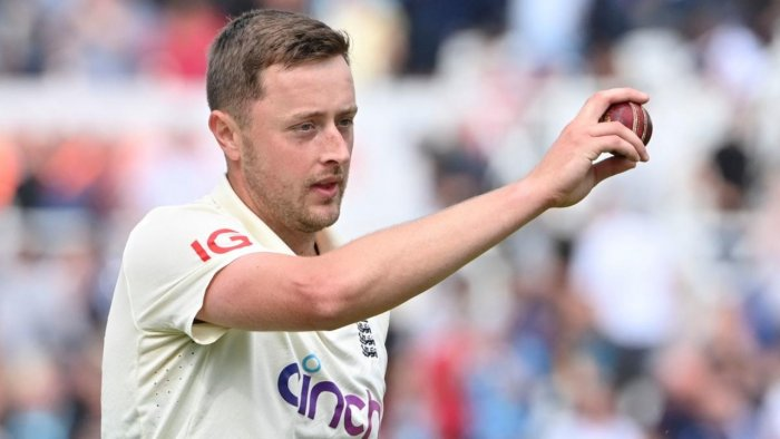 England's Ollie Robinson acknowledges the crowd after taking five wickets at the end of the first innings on the third day of the first cricket Test match of the India Tour of England 2021 between England and India at the Trent Bridge cricket ground in Nottingham, central England, on August 6, 2021. Credit: AFP Photo