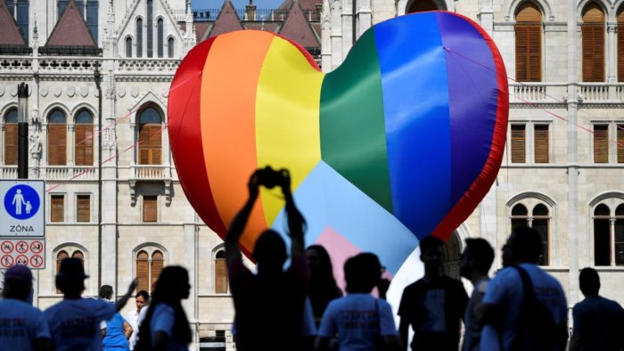 NGOs put up a huge rainbow balloon at Hungary's parliament protesting against anti-LGBT law in Budapest. Credit: Reuters Photo