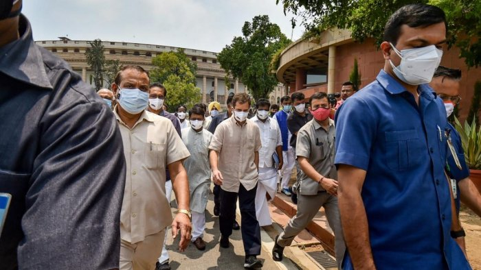 Congress leader Rahul Gandhi with opposition leaders during a protest march to attend the farmers protest at Jantar Mantar, during the Monsoon Session of Parliament in New Delhi, Friday, August 6, 2021. Credit: PTI Photo