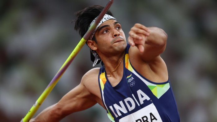Neeraj Chopra of India in action at the javelin throw final. Credit: Reuters photo
