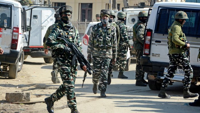 Security personnel at an operation in Budgam. Credit: PTI File Photo