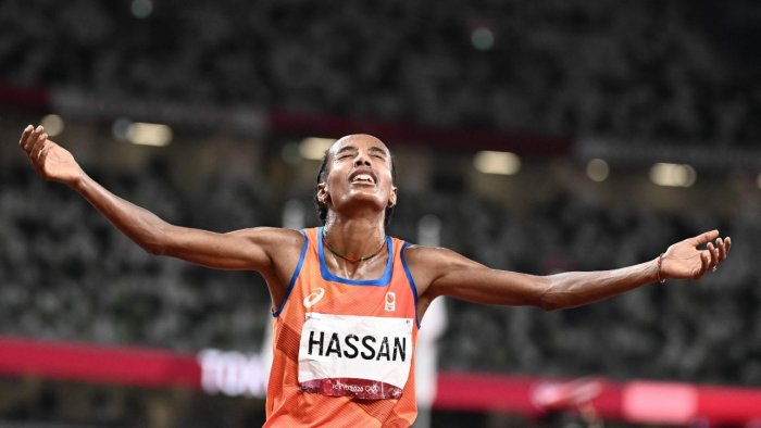 Netherlands' Sifan Hassan celebrates after winning the women's 10,000m final during the Tokyo 2020 Olympic Games at the Olympic Stadium in Tokyo. Credit: AFP Photo