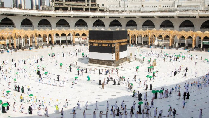 Pilgrims keeping social distance perform their Umrah in the Grand Mosque during the annual Haj pilgrimage, in the holy city of Mecca. Credit: Reuters Photo