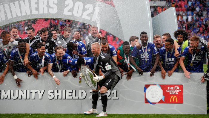Leicester City's Kasper Schmeichel and teammates celebrate with the trophy after winning the FA Community Shield Action. Credit: Reuters Photo