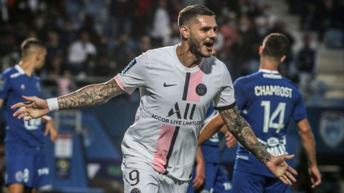 Paris Saint-Germain's Argentinian forward Mauro Icardi celebrates after scoring a goal during the French L1 football match between Paris Saint-Germain (PSG) and ES Troyes. Credit: AFP Photo