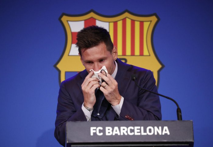 Lionel Messi during the press conference. Credit: Reuters Photo