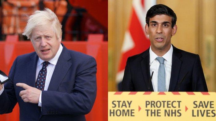 British Prime Minister Boris Johnson and Chancellor Rishi Sunak. Credit: AFP Photos