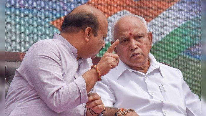 Basavaraj Bommai and B S Yediyurappa. Credit: DH File Photo
