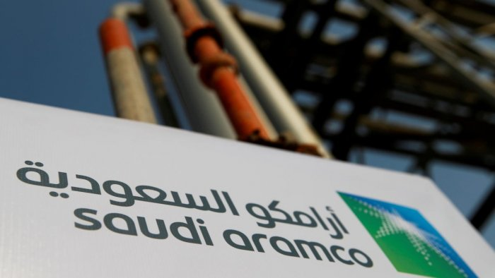 Saudi Aramco logo is pictured at the oil facility in Abqaiq. Credit: Reuters Photo