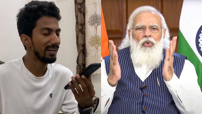 Comedian Shyam Rangeela (left) and PM Modi. Credit: YouTube/Shyam Rangeela/PTI Photo