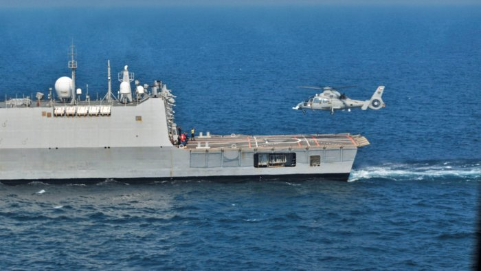 Indian Navy Ship (INS) Kochi during 'Zayed Talwar 2021' exercise with UAE Navy, held on Aug 7 off the coast of Abu Dhabi. Credit: PTI Photo