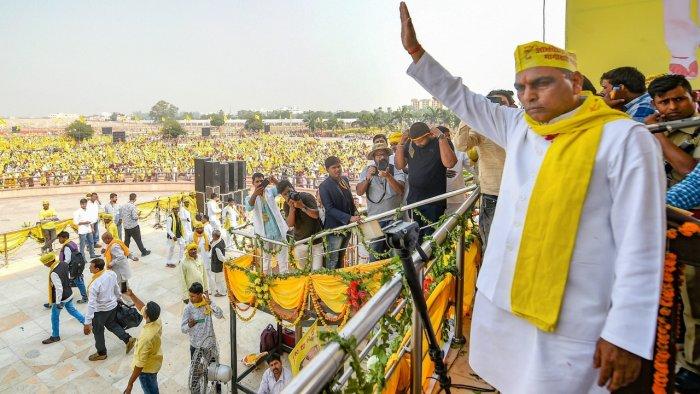 Suheldev Bharatiya Samaj Party (SBSP) chief Om Prakash Rajbhar. Credit: PTI File Photo