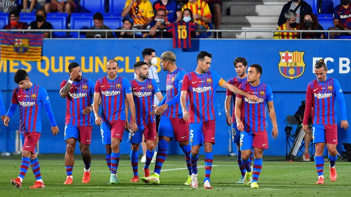 Barcelona's celebrate their second goal during the 56th Joan Gamper Trophy friendly football match between Barcelona and Juventus at the Johan Cruyff Stadium in Sant Joan Despi near Barcelona. Credit: AFP Photo