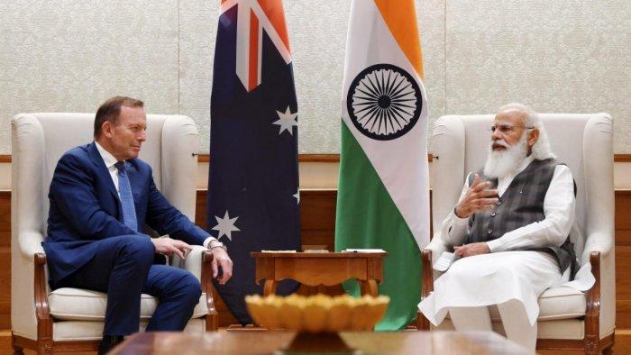 Prime Minister Narendra Modi with former Australian prime minister Tony Abbott during a meeting, in New Delhi. Credit: Twitter Photo/@narendramodi