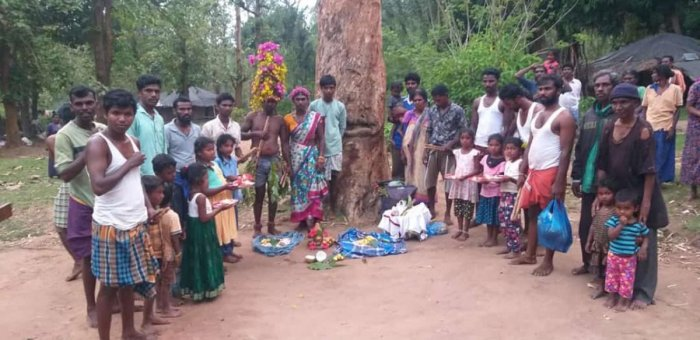 Tribals observe the 27th World Tribal Day in Nagarahole.