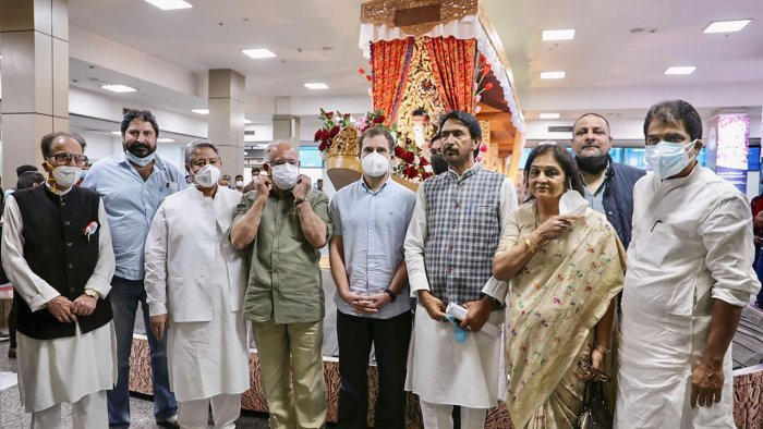 Congress MP Rahul Gandhi arrives at Srinagar airport. Credit: PTI Photo