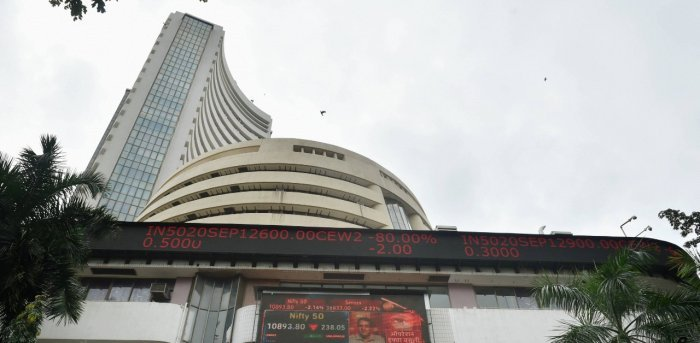 In the previous session, Sensex ended 125.13 points or 0.23 per cent higher at 54,402.85. Credit: PTI Photo