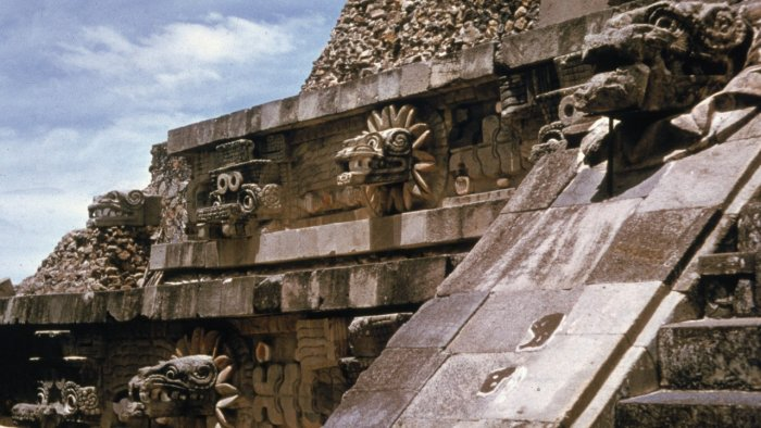 Detail of figures on the Temple of Quetzalcoatl at Teotihuacan, near Mexico City. Credit: Getty images