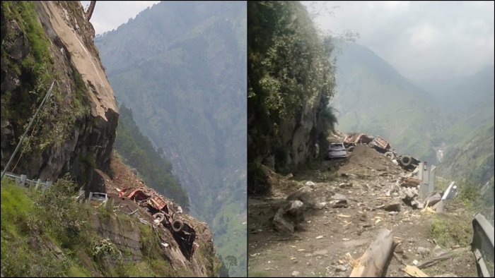 Several vehicles, including a Himachal Road Transport Corporation (HRTC) bus carrying over 40 passengers, are buried under the debris. Credit: Twitter/ @ITBP_official