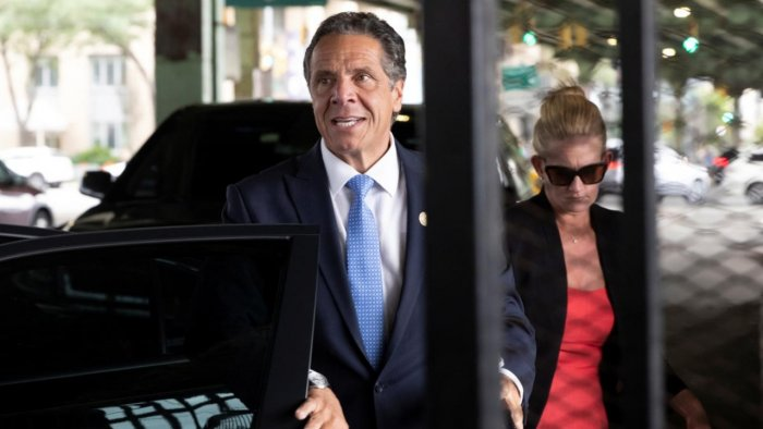 New York Governor Andrew Cuomo arrives to depart in his helicopter after announcing his resignation in Manhattan, New York City. Credit: Reuters Photo