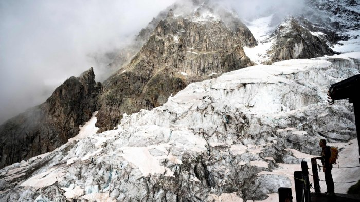 A melting glacier is posing challenges this summer for scientists on Italy's side of the Mont Blanc massif. Credit: AFP Photo