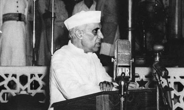 Apart from Nehru's speech itself, the presentation of the national flag, the singing of the national anthem are well known from the day. Credit: AFP Photo