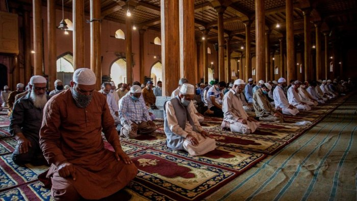 Muslim devotees offer Friday congregational prayers at the Jamia Masjid mosque in Srinagar. Credit: AFP Photo
