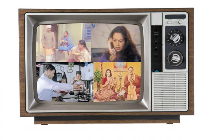 Television shows like (clockwise) Rajani, Surabhi, Malgudi Days and Buniyaad on Doordarshan, brought the family together in the living room.