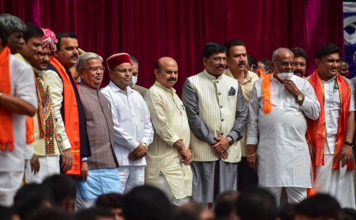 Karnatka CM Basavaraj Bommai's new cabinet. Credit: PTI Photo
