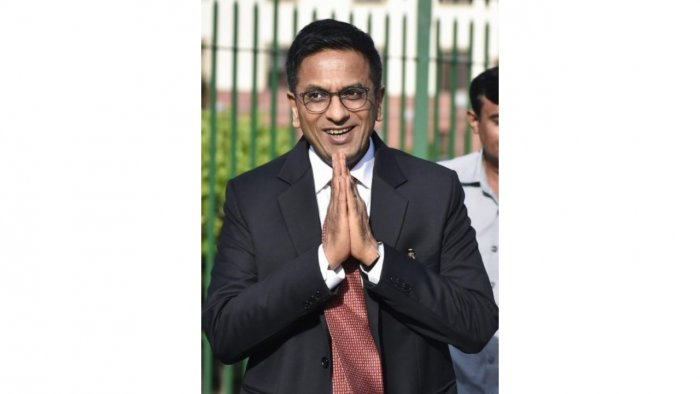 Justice D Y Chandrachud arrives to attend Chief Justice of India Justice Dipak Misra's farewell function on the Supreme Court lawns in New Delhi. Credit: PTI File Photo