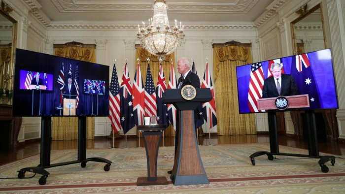 US President Joe Biden delivers remarks on a National Security Initiative virtually with Australian Prime Minister Scott Morrison and British Prime Minister Boris Johnson, inside the East Room at the White House in Washington, US. Credit: Reuters Photo