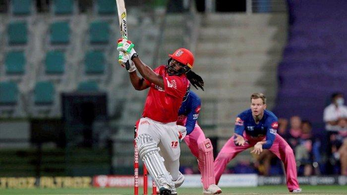Chris Gayle of Punjab Kings plays a shot against Rajasthan Royals in IPL 2020. Credit: PTI File Photo