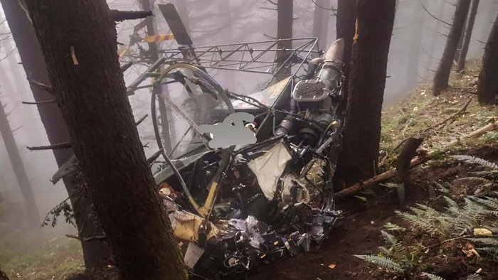 Wreckage of an Indian Army helicopter that crashed in Udhampur district, Jammu and Kashmir. Credit: PTI Photo