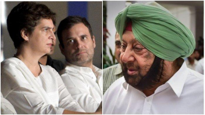 Congress leaders Priyanka Gandhi Vadra, Rahul Gandhi; former Punjab CM Amarinder Singh. Credit: PTI Photos