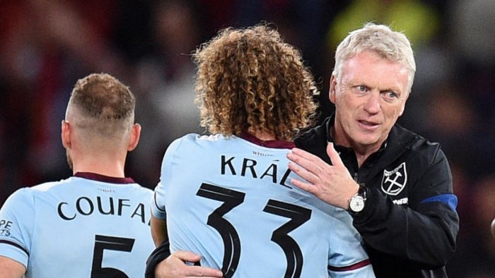 West Ham United's Czech midfielder Alex Kral and West Ham United's Scottish manager David Moyes celebrate after the English League Cup third round football match between Manchester United and West Ham United at Old Trafford in Manchester. Credit: AFP Photo