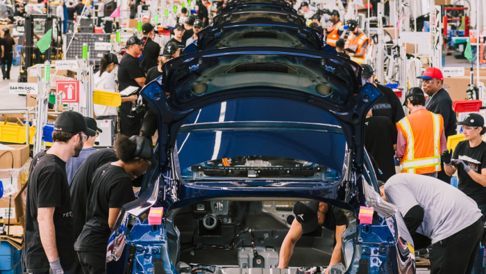 An assembly line for the Model 3 at Tesla's factory in Fremont. Credit: NYT