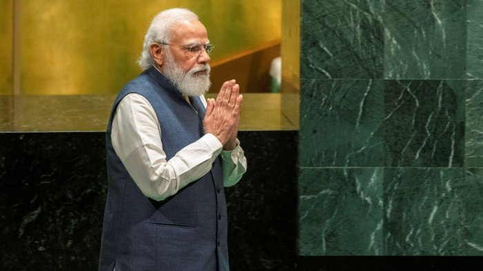 India's Prime Minister Narendra Modi arrives to address the 76th Session of the UN General Assembly at United Nations headquarters in New York, on Saturday. Credit: AP/PTI Photo