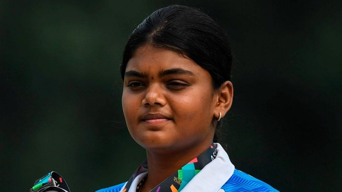 Jyothi Surekha Vennam won silver in the women's compound individual section. Credit: AFP File Photo