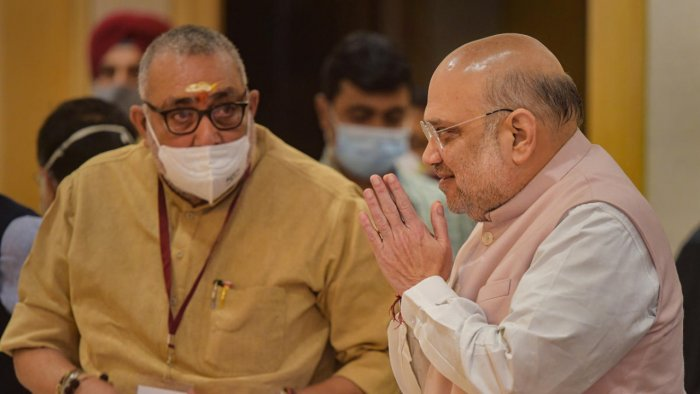 Union Home Minister Amit Shah arrives to chair a high-level meeting with Chief Ministers of ten Naxal-hit states, at Vigyan Bhawan. Credit: PTI Photo