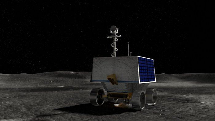 This handout illustration courtesy of NASA shows NASA's Volatiles Investigating Polar Exploration Rover (VIPER) on the surface of the Moon. Credit: AFP Photo