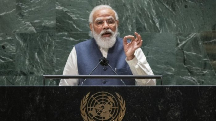 India's Prime Minister Narendra Modi addresses the 76th Session of the UN General Assembly at United Nations headquarters in New York, on Saturday, September 25, 2021. Credit: AP Photo