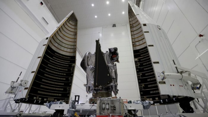 NASA's Lucy spacecraft is shown as it is prepared for launch in October aboard a United Launch Alliance Atlas 5 rocket. Credit: Reuters Photo