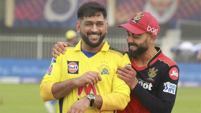 Virat Kohli captain of Royal Challengers Bangalore and Mahendra Sigh Dhoni captain of Chennai Super Kings. Credit: PTI Photo