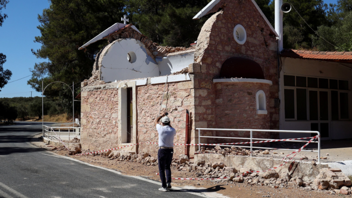 File photo of an collapsed house in Crete after a quake on September 27, 2021. Credit: Reuters Photo