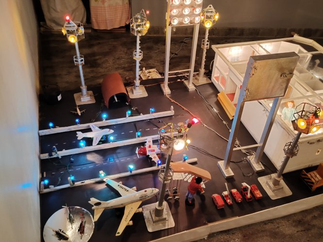 A miniature replica of the Chennai airport from 40 years ago.