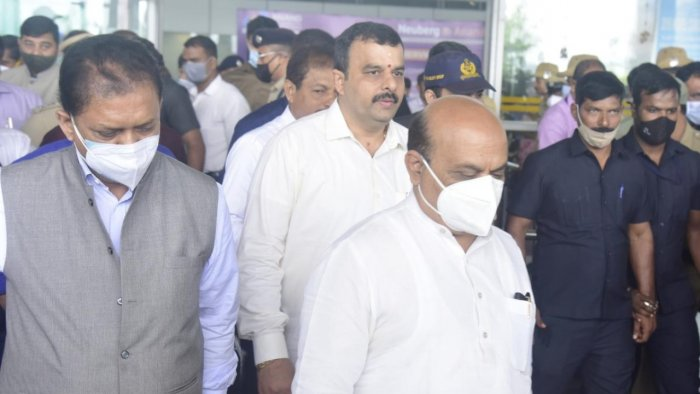 CM Bommai arriving at Mangalore International Airport (MIA). Credit: DH Photo