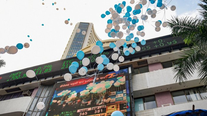 Balloons fly in celebration of Sensex breaching the 60,000 mark for the first time, in Mumbai, Friday, September 24, 2021. Credit: PTI File Photo