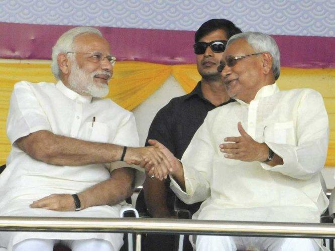 Narendra Modi with Bihar chief minister Nitish Kumar