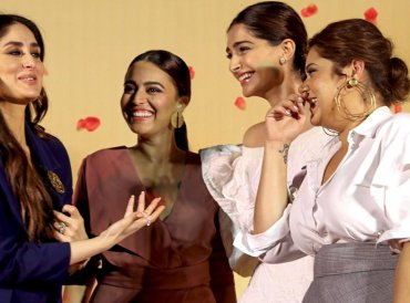 Bollywood actors (L-R) Kareena Kapoor, Swara Bhasker, Sonam Kapoor and Shikha Talsania during a trailer launch of their upcoming film 'Veere Di Wedding' in Mumbai on Wednesday. PTI Photo