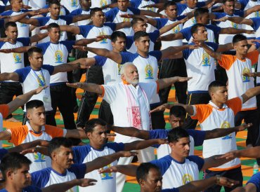 Prime Minister Narendra Modi performs yoga on International Yoga Day in Dehradun in the northern Himalayan state of Uttarakhand. REUTERS